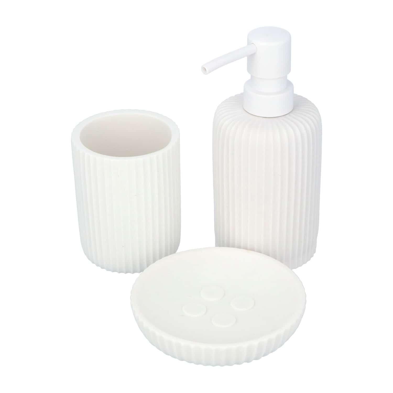 4goodz 3 delige badkamerset polyresin gefreesd - Wit