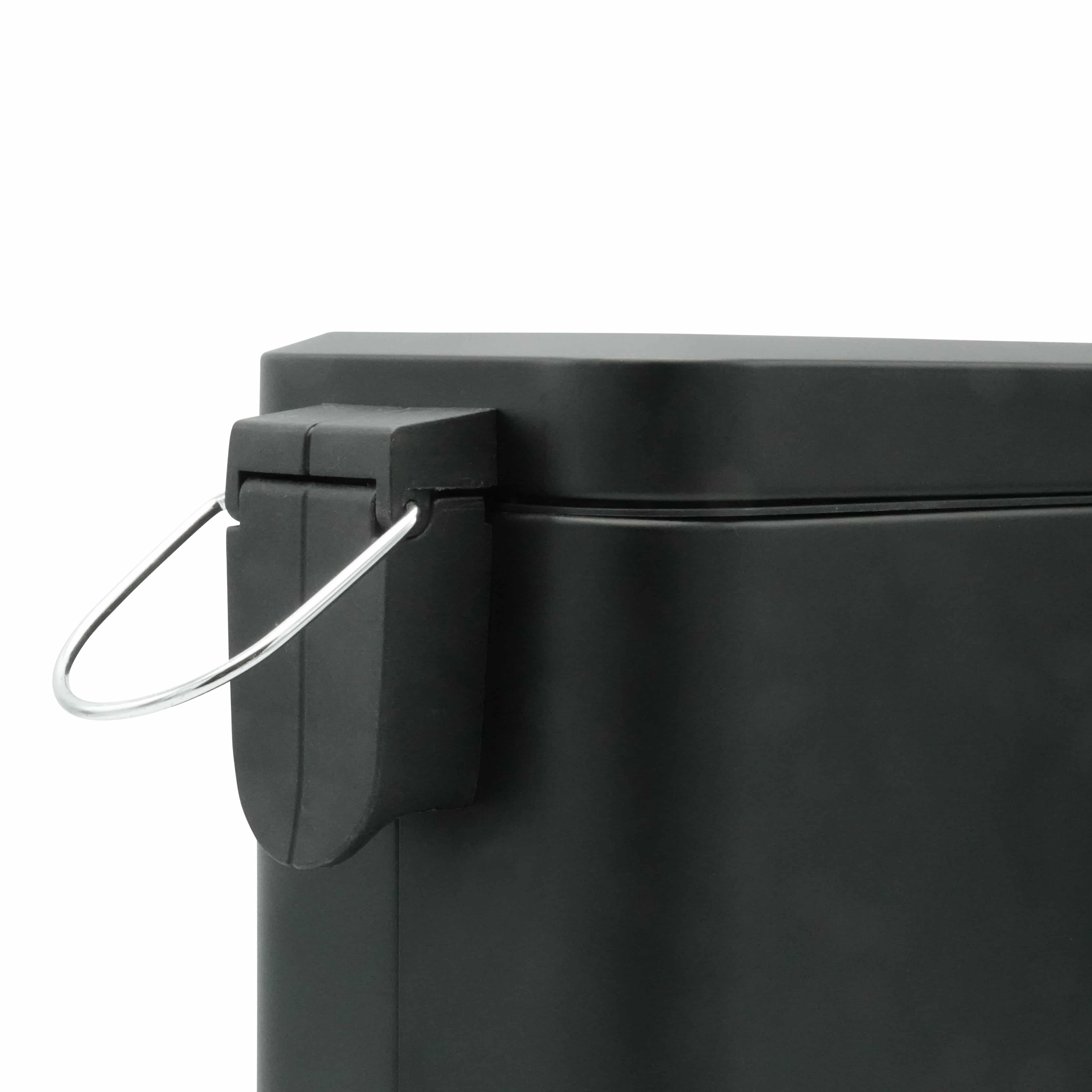 4goodz rechthoekige metalen pedaalemmer 5 liter - 14x28x30 cm - Zwart