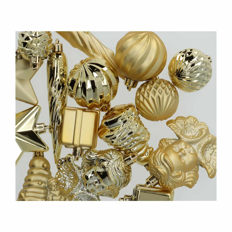 4Goodz 16-delige decoratieve kerstballenset - binnen- en buiten - Goud