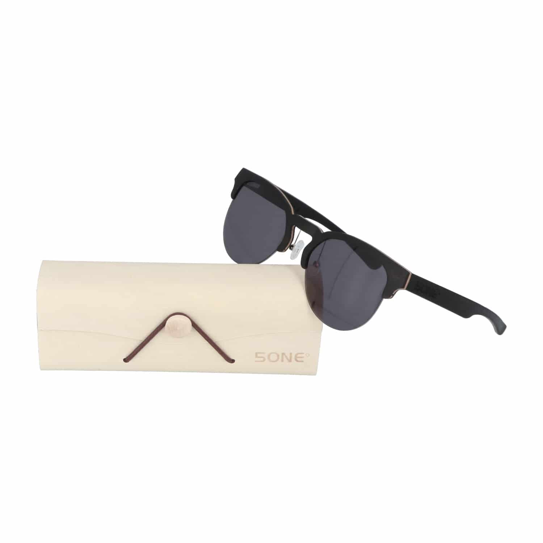 5one® Clubmaster Sports Grey - Ebony houten zonnebril - sportief model