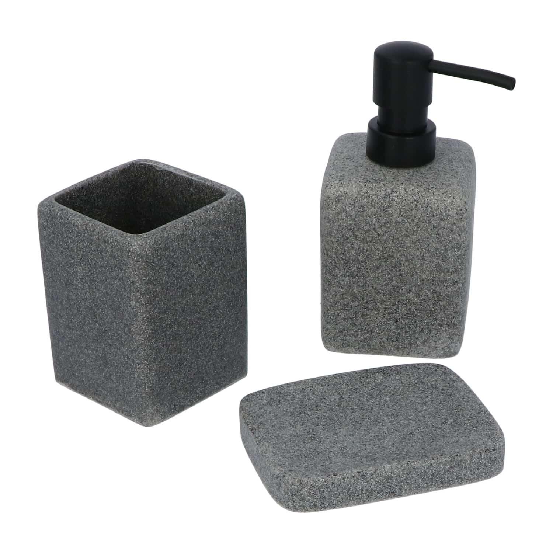 4Goodz Basalt Badkamerset polybeton 3-delig - donkergrijs