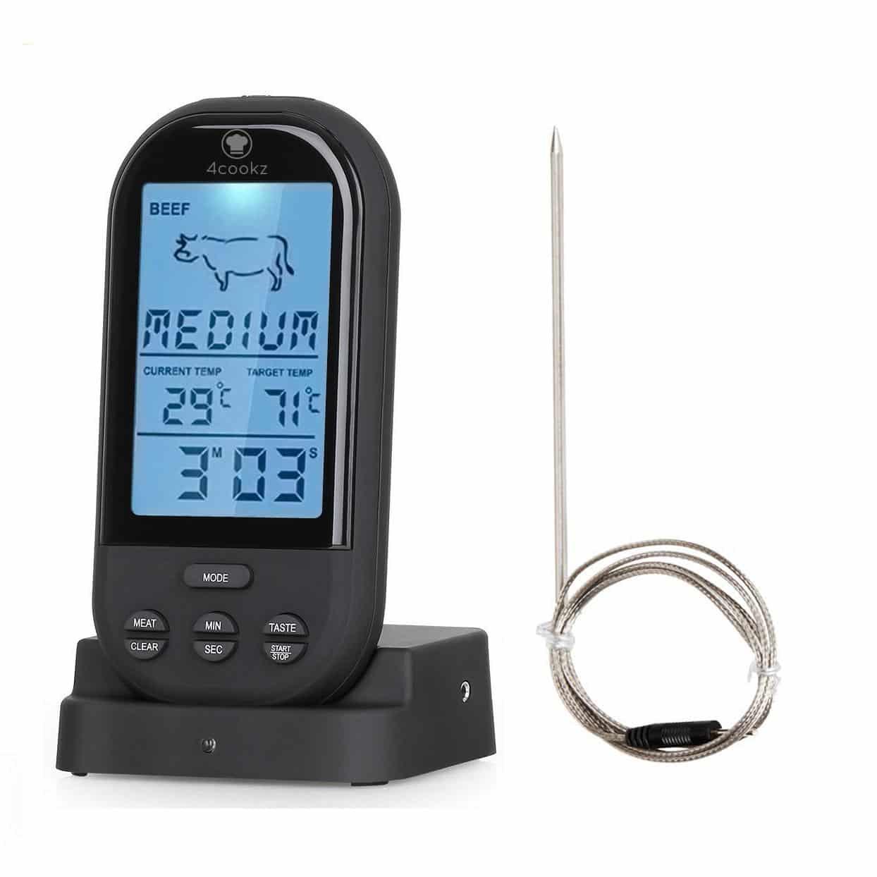 4cookz® Draadloze vleesthermometer/BBQ thermometer - Zwart - 0° - 250°