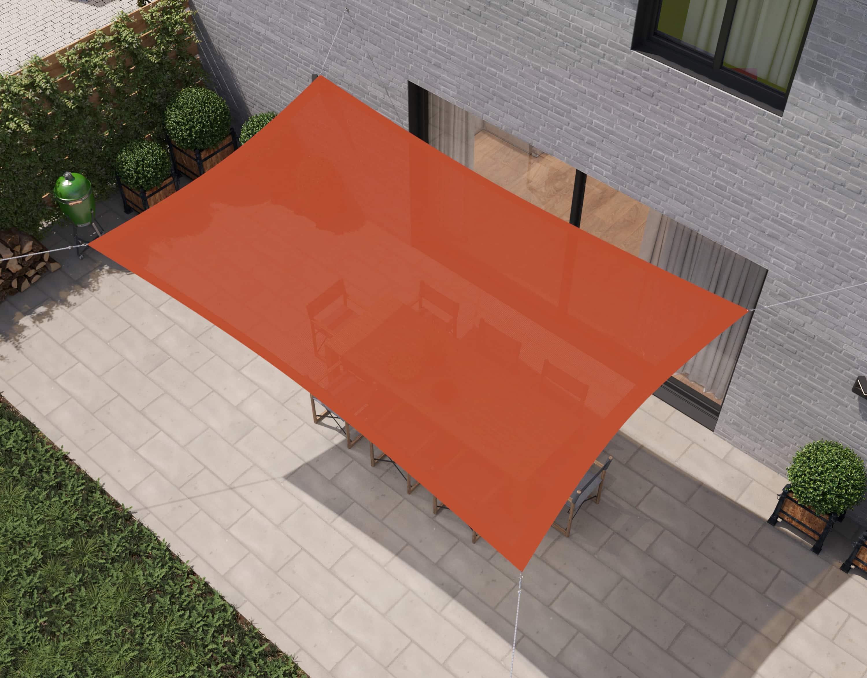 hanSe® Schaduwdoek Rechthoek Waterdoorlatend 3,5x4,5 m - Terra