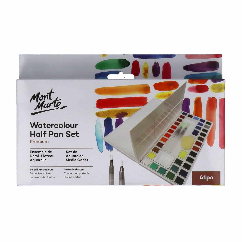 Mont Marte® set 41 delig waterverf in box met 2 waterbrush pennen