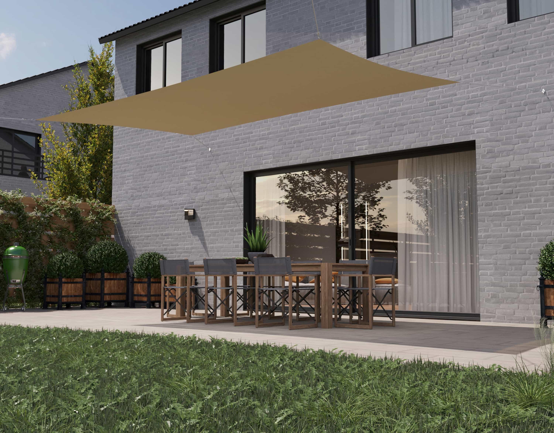hanSe® Schaduwdoek Rechthoek Waterdoorlatend 2x4 m - zonnedoek - Zand