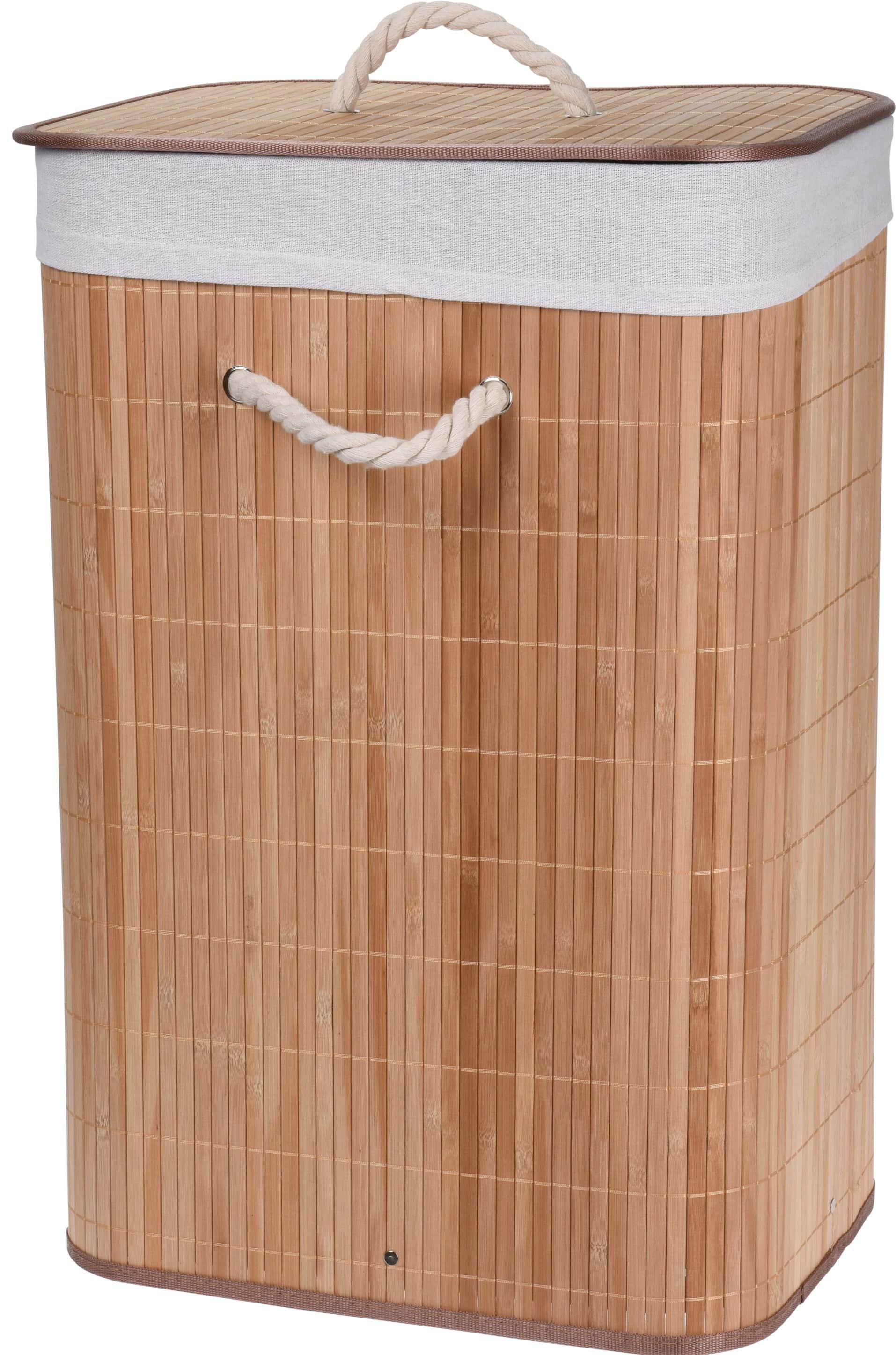 4goodz bamboe wasmand met deksel - 72 liter - 30x40x60 cm