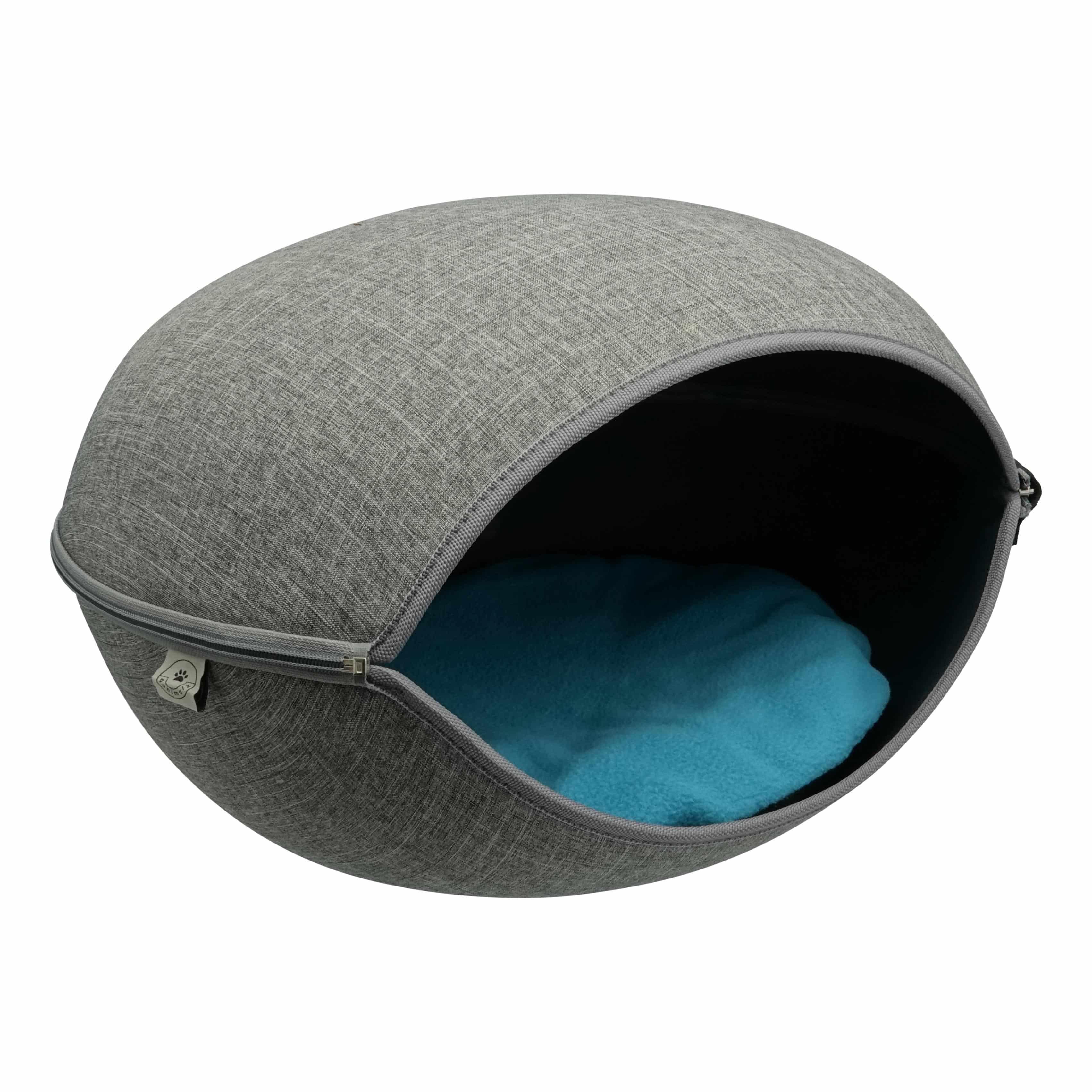 4animalz grote stoffen kattenmand in grijs - 52x45x33cm - blauw/creme