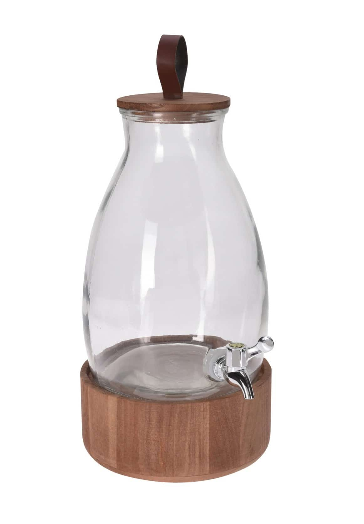 4goodz Glazen Sapkan Deluxe met Tapkraan - Acaciahouten voet - 5,5 ltr