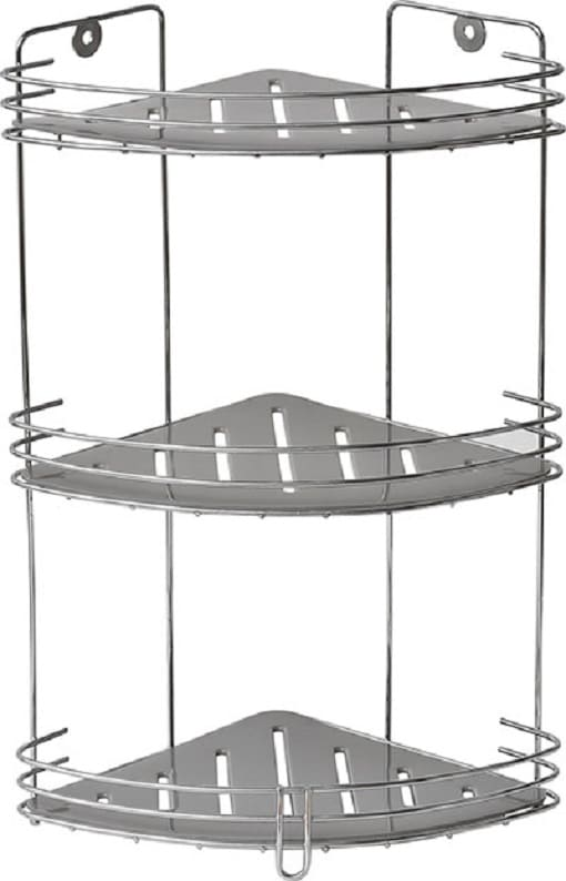 3-laags metalen doucherek hangend hoekmodel - Chroom/grijs