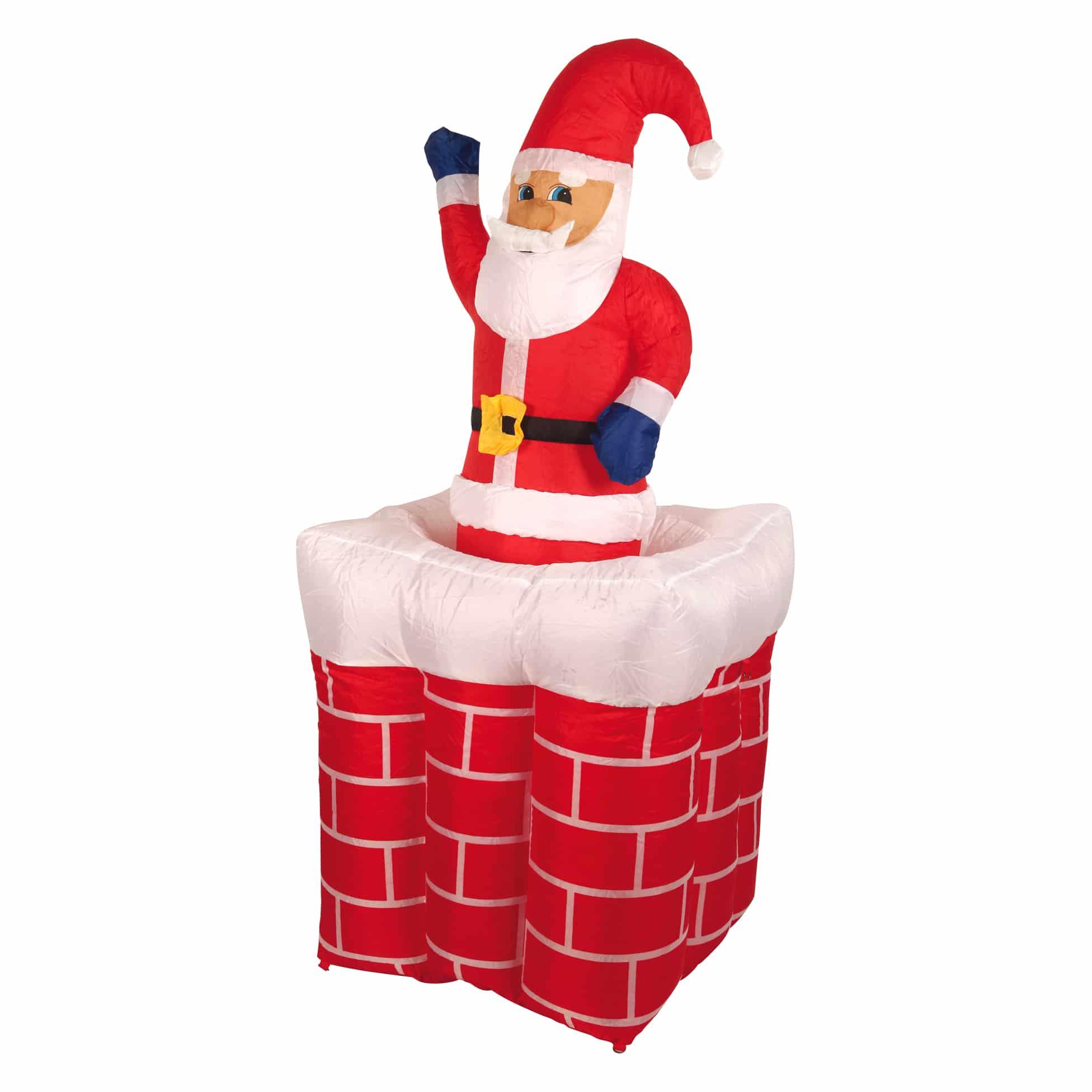 4Goodz Opblaasbare LED kerstman in schoorsteen 160cm - buiten & binnen
