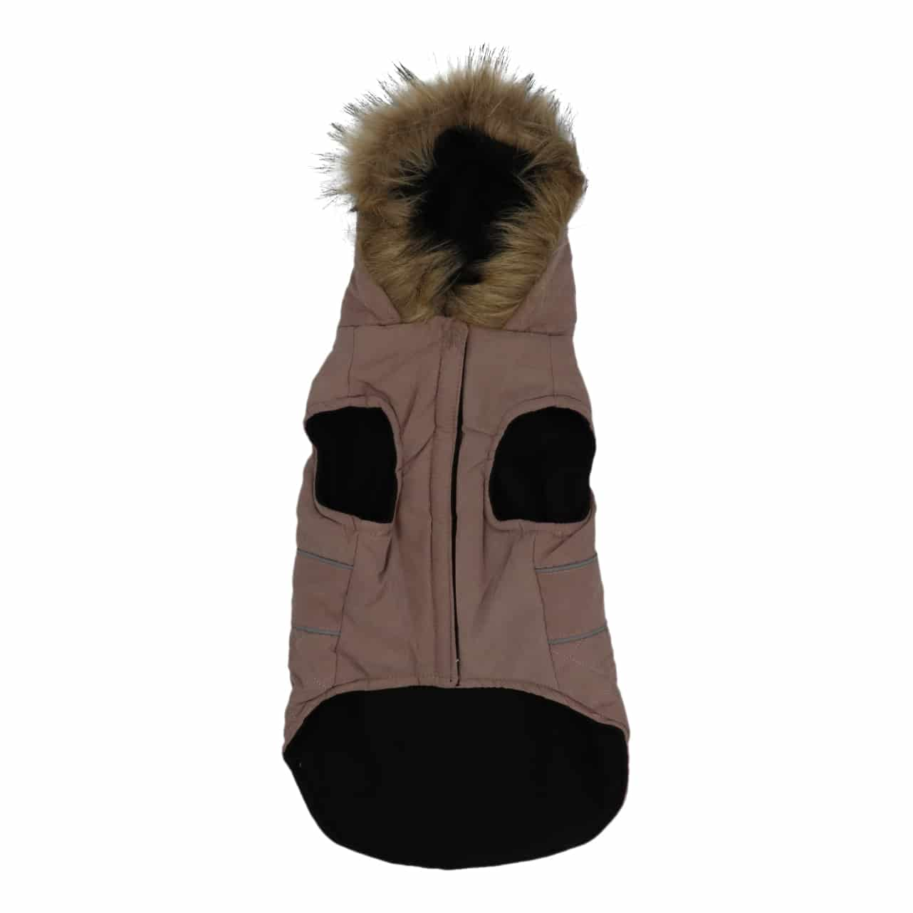 4goodz Hondenjas met bontkraag - winterjas hond 35 cm - Roze