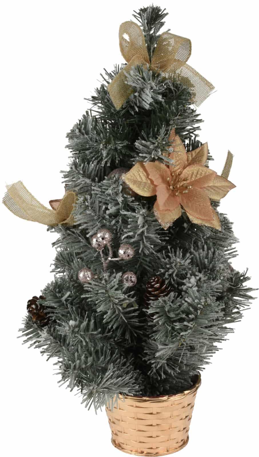 Besneeuwde Mini Kerstboom met decoratie 50 cm hoog - Goud