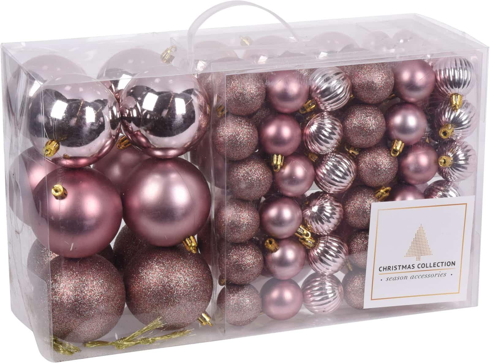 Kunststof Kerstballen set 94 ballen - binnen/buiten gebruik - Roze