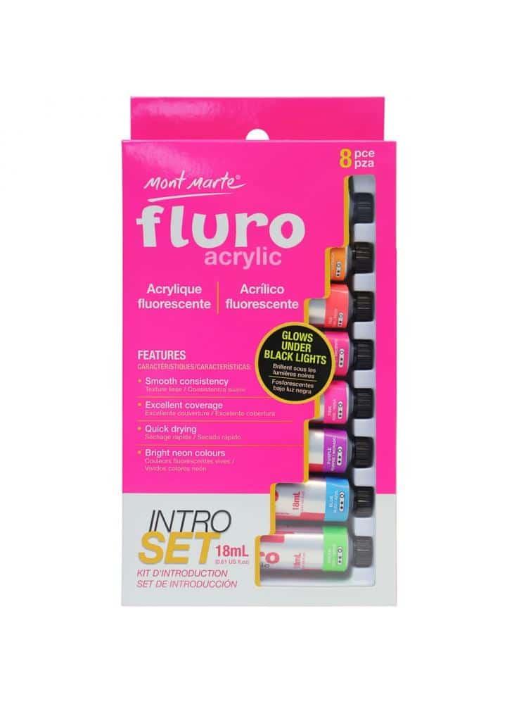 Mont Marte® 8-delige fluoriserende acryl verfset 18ML - introductieset