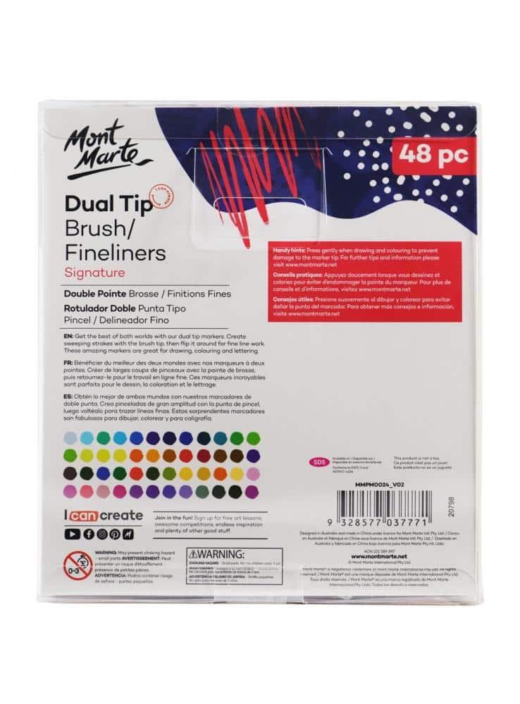 Mont Marte® dual tip brush/fineliner 48 stuks