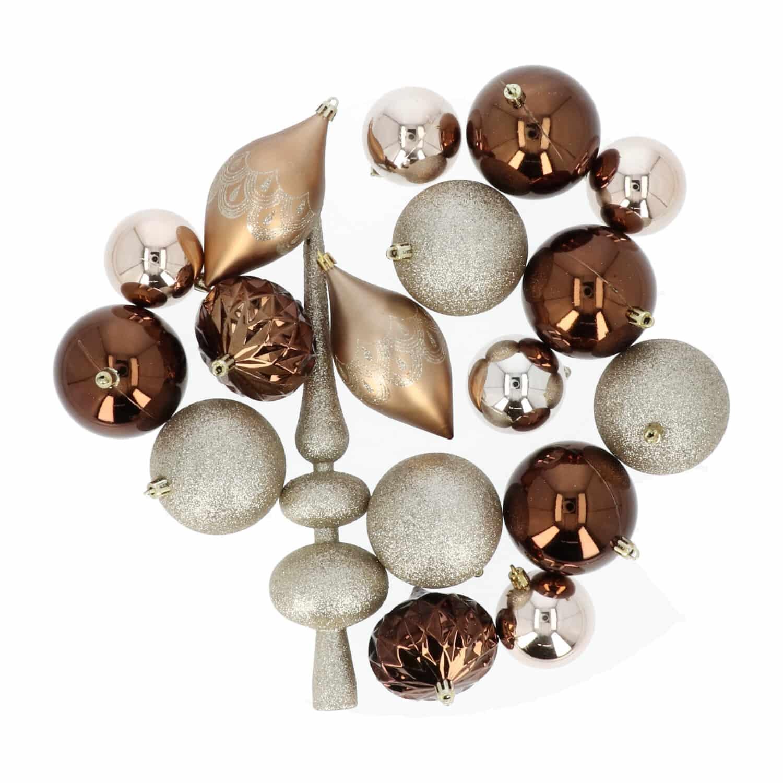 4goodz 19-delige decoratieve kerstballenset Champagne/Bruin