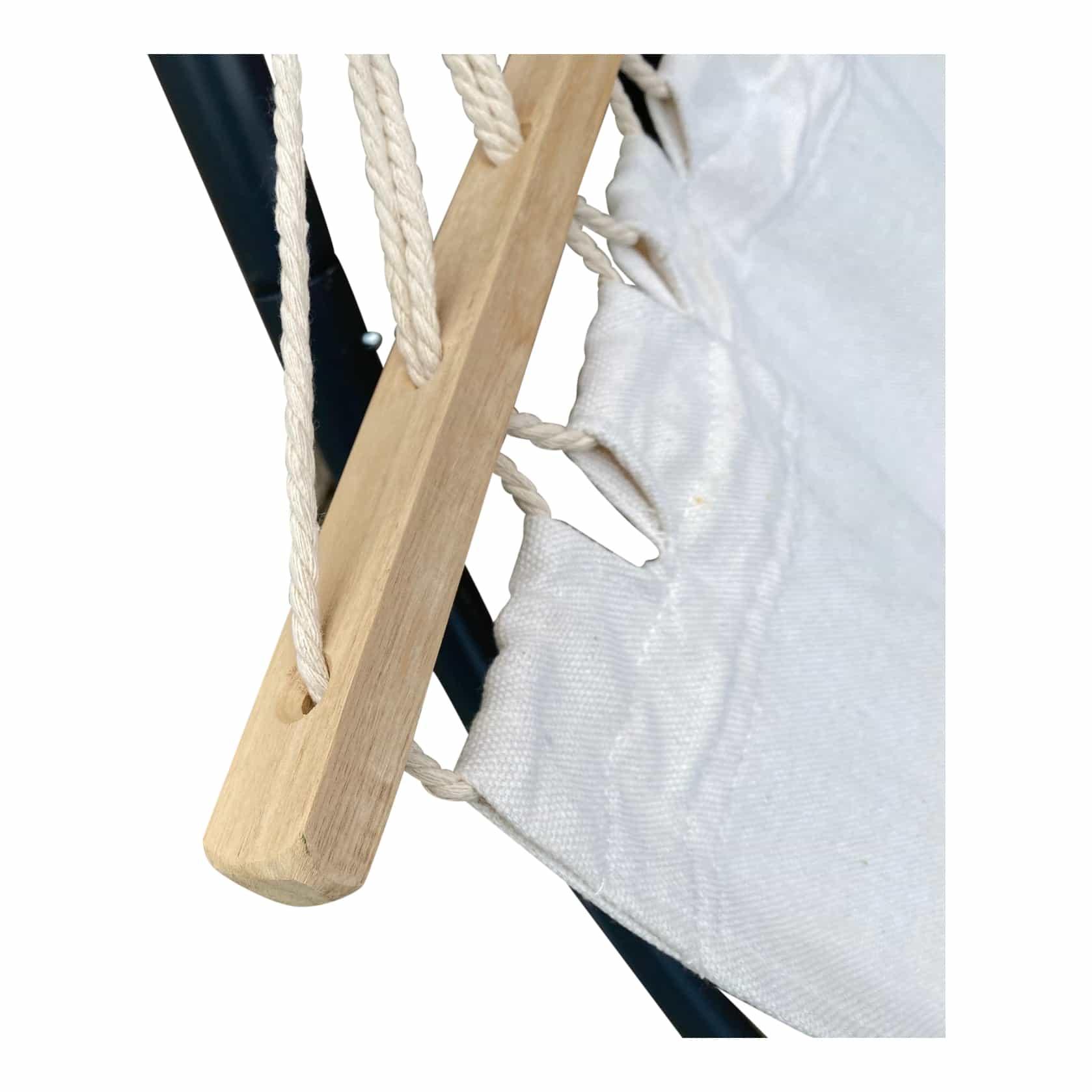 4Goodz Cremekleurige eenpersoons Hangmat houten spreidstok - 270x80CM