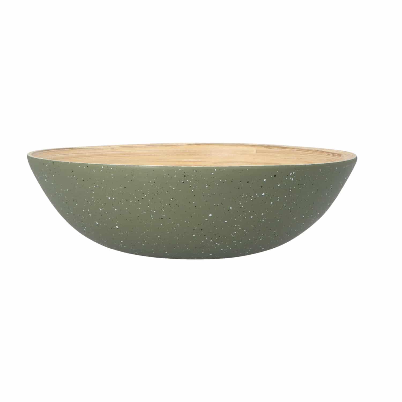 4goodz Bamboe Fruitschaal Saladeschaal 25x8 cm - Kakigroen