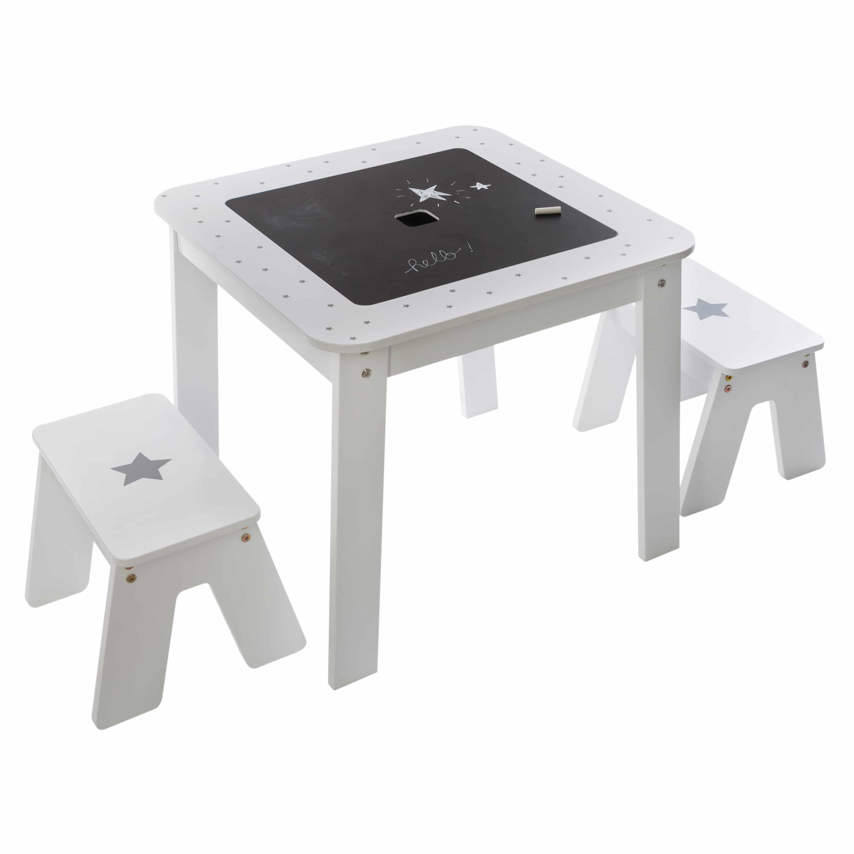 4goods set 3 delig kindertafel stoelen Boy 57x57x515cm wit