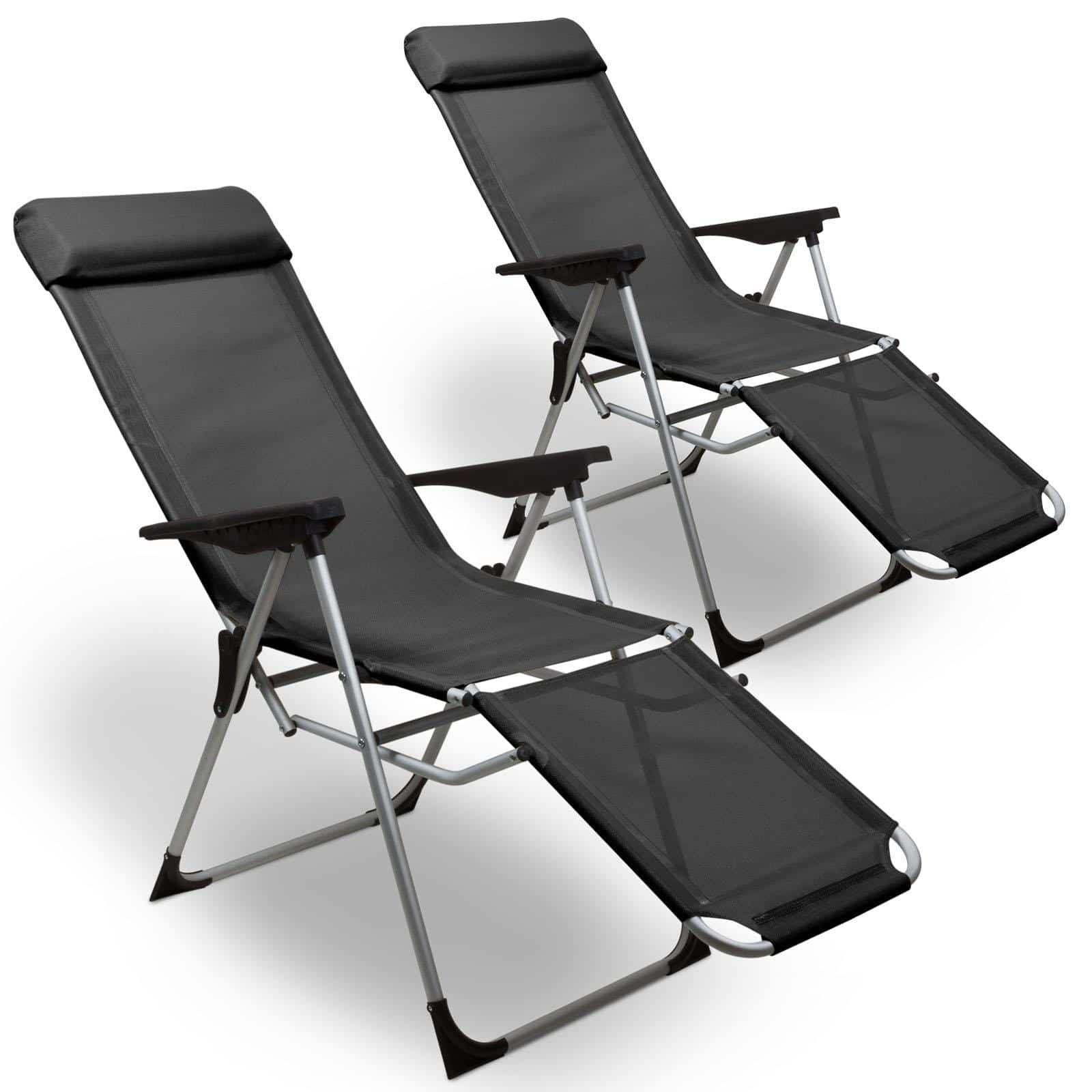 4Goodz 2x Ventilerende Relaxstoelen in 5 Standen verstelbaar - Grijs