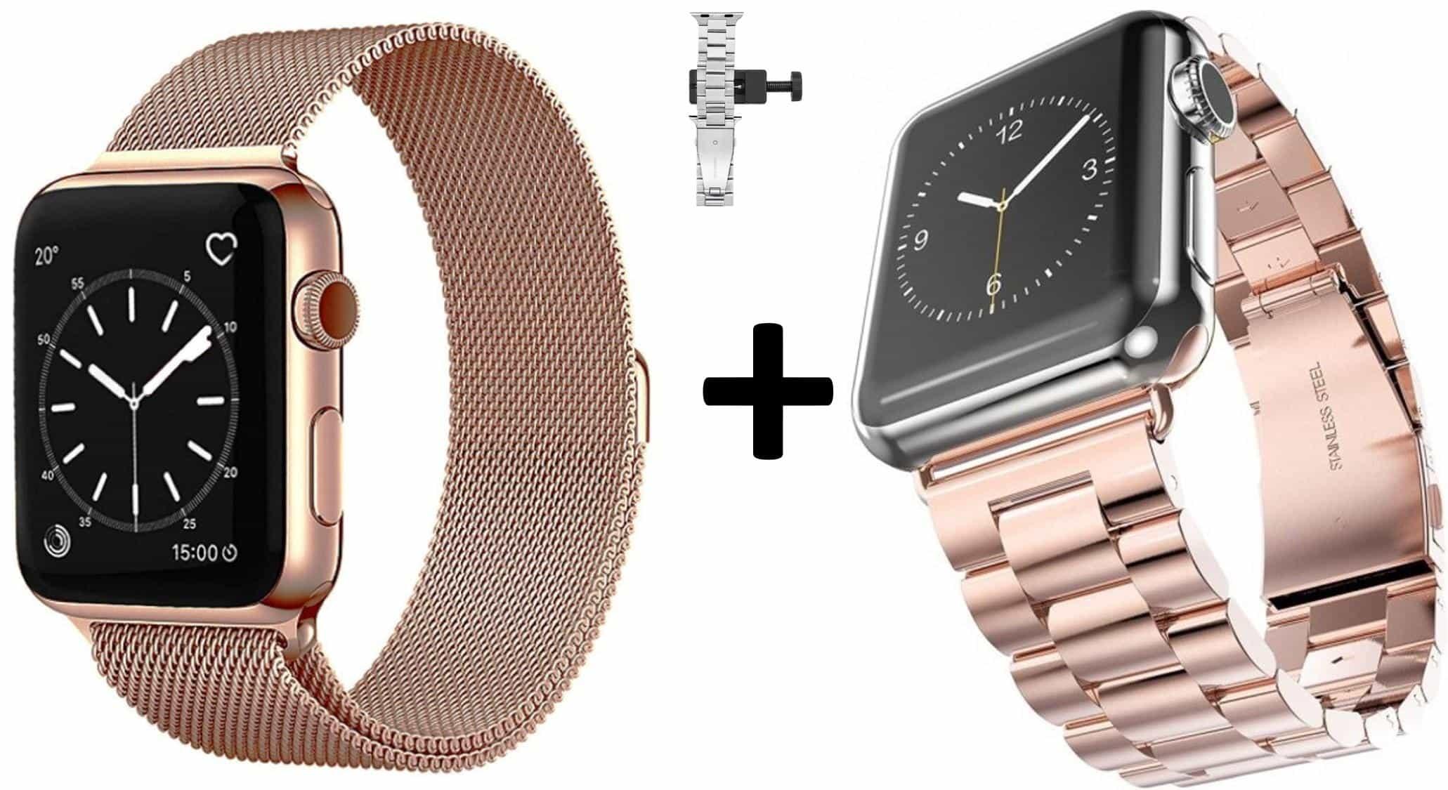 4mobilez® Iwatch bandjes Milanese en Schakelband Rosegold 42/44 mm - Iwatch 1/2/3/4/5