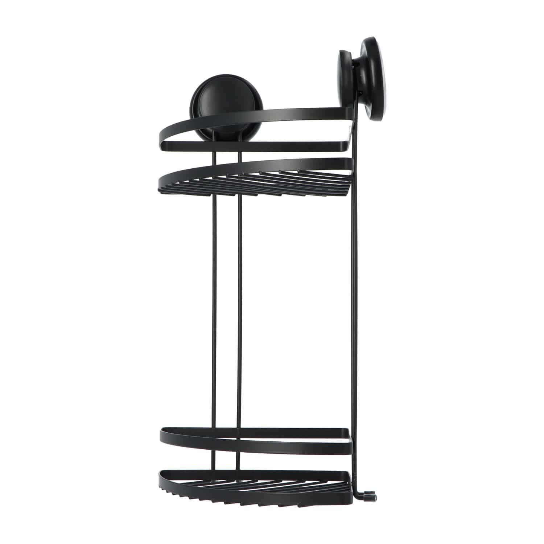 4goodz 2-laags Doucherek hoek met vacuum Zuignappen 18x18x38cm - Zwart