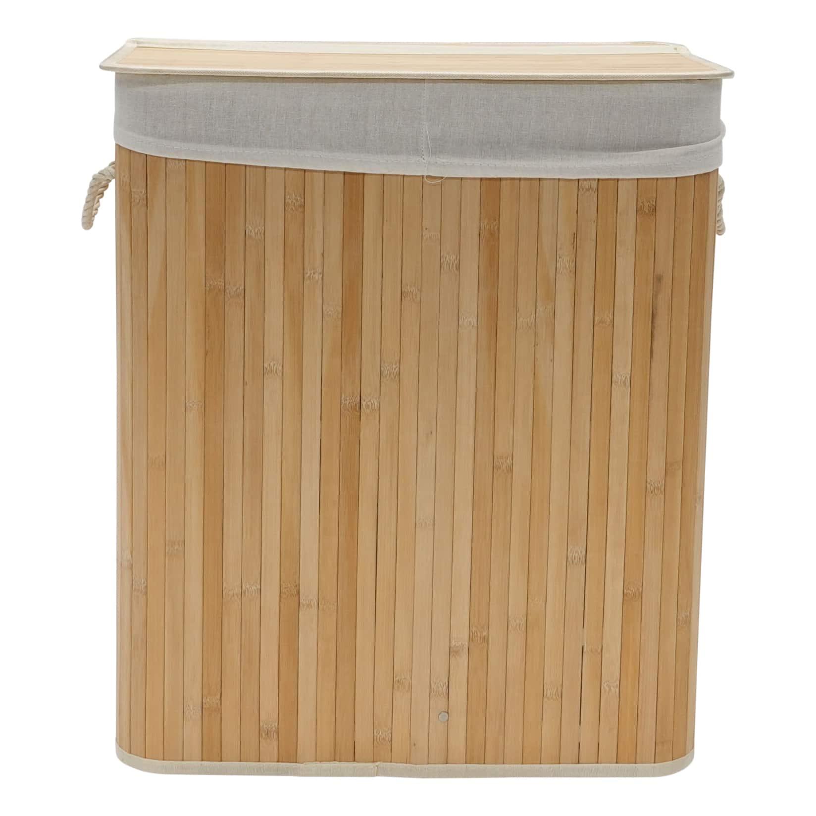 4Goodz bamboe wasmand met deksel en handvaten - 72 liter - 30x40x60 cm