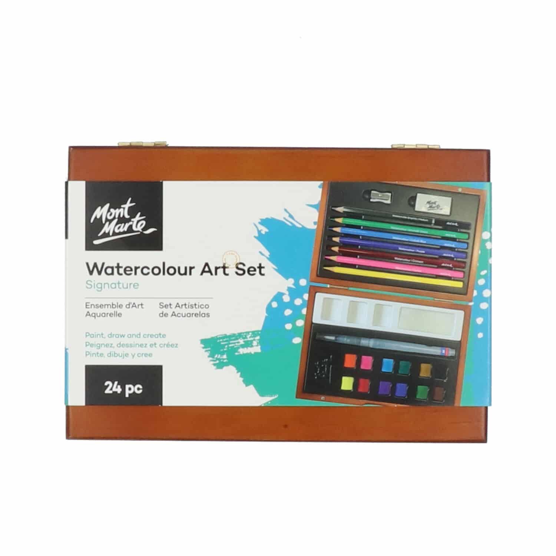 Mont Marte® 24-delige waterverf/waterpotloden kleurset in houten kist