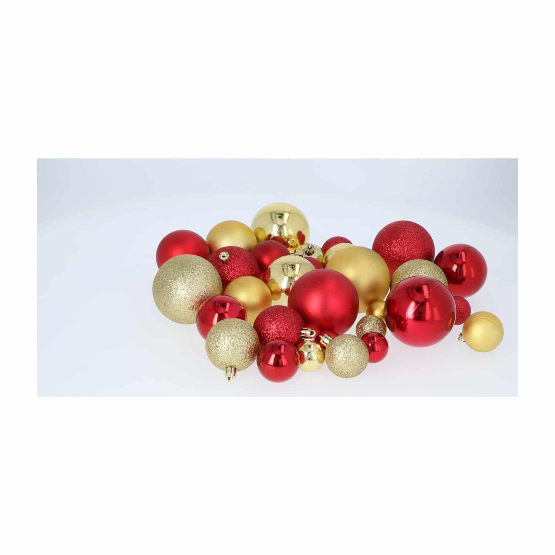 Kunststof Kerstballen set 130 ballen piek parelsnoer - Goud/Bordeaux