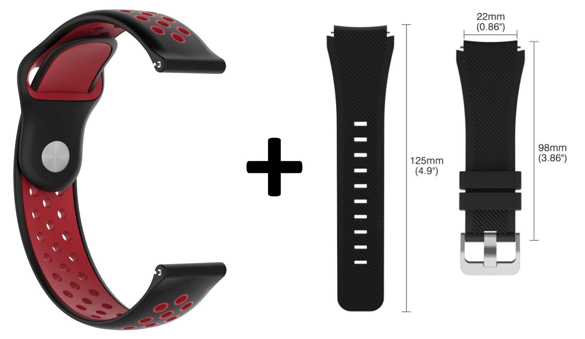 4mobilez Samsung Galaxy bandjes Sportstyle Rood/Zwart en Zwart 46 mm