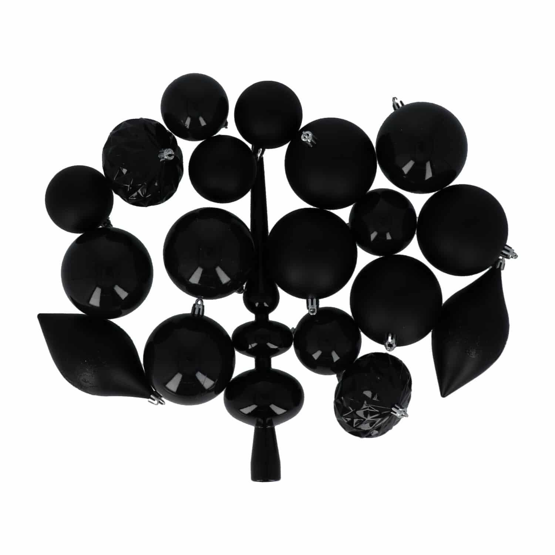 4goodz 19-delige decoratieve kerstballenset - Zwart