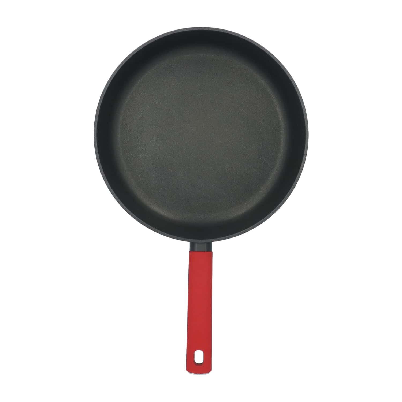 4goodz Aluminium Koekenpan met siliconen handvat 28 cm - zwart/rood