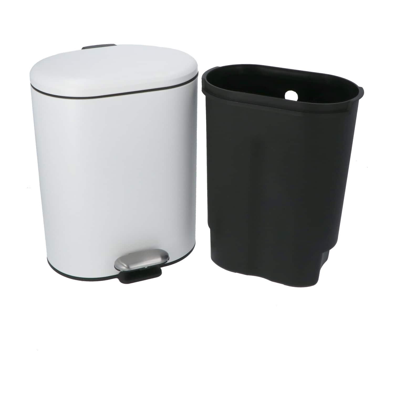 4Goodz Pedaalemmer Ovaal 6 liter met uitneembare binnen emmer - Wit