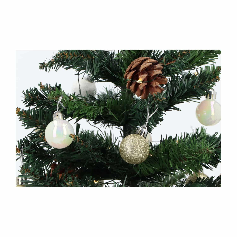 4Goodz kunstkerstboom met licht en versiering 50cm hoog - Goud/Wit