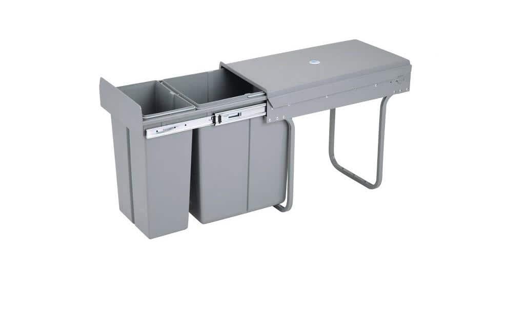 4cookz® inbouw afvalscheidingsprullenbak 10+20 liter - 30cm - grijs
