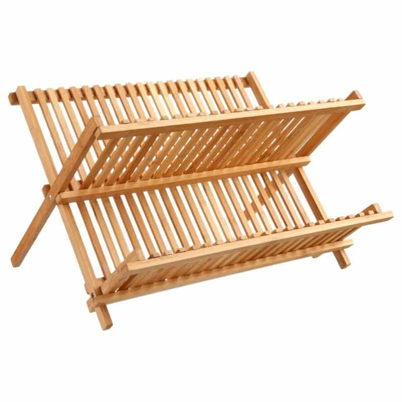 4goodz Opvouwbaar Bamboe Afdruiprek voor afwas 25,5x33,5x42 cm - Bruin