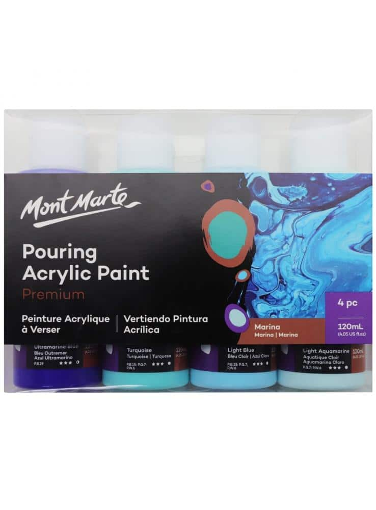 Mont Marte® Pouring Paint Marina - set van 4 giet acryl verf 120ML