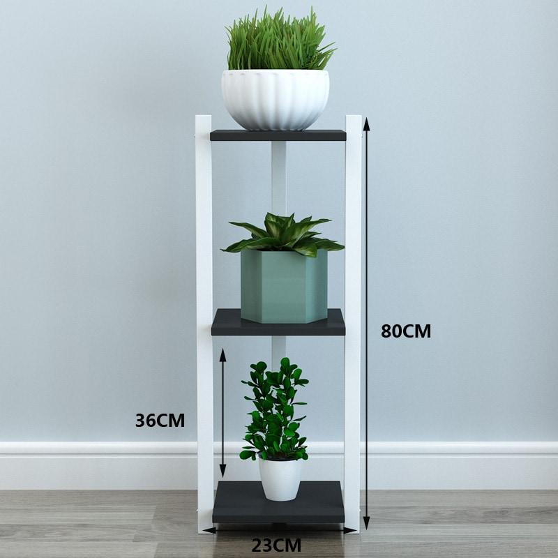 4livingz staand 3 laags plantenrek 23x23x80 cm - zwart/wit