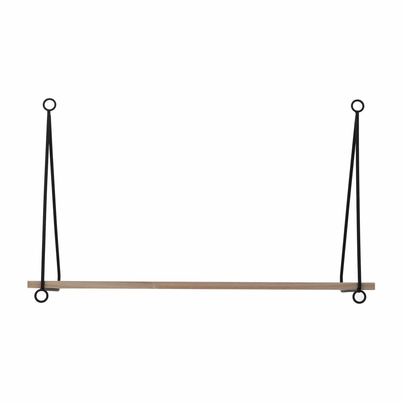 4livingz Kalmar - Houten Wandplank met metalen hangers - 15x50x1cm