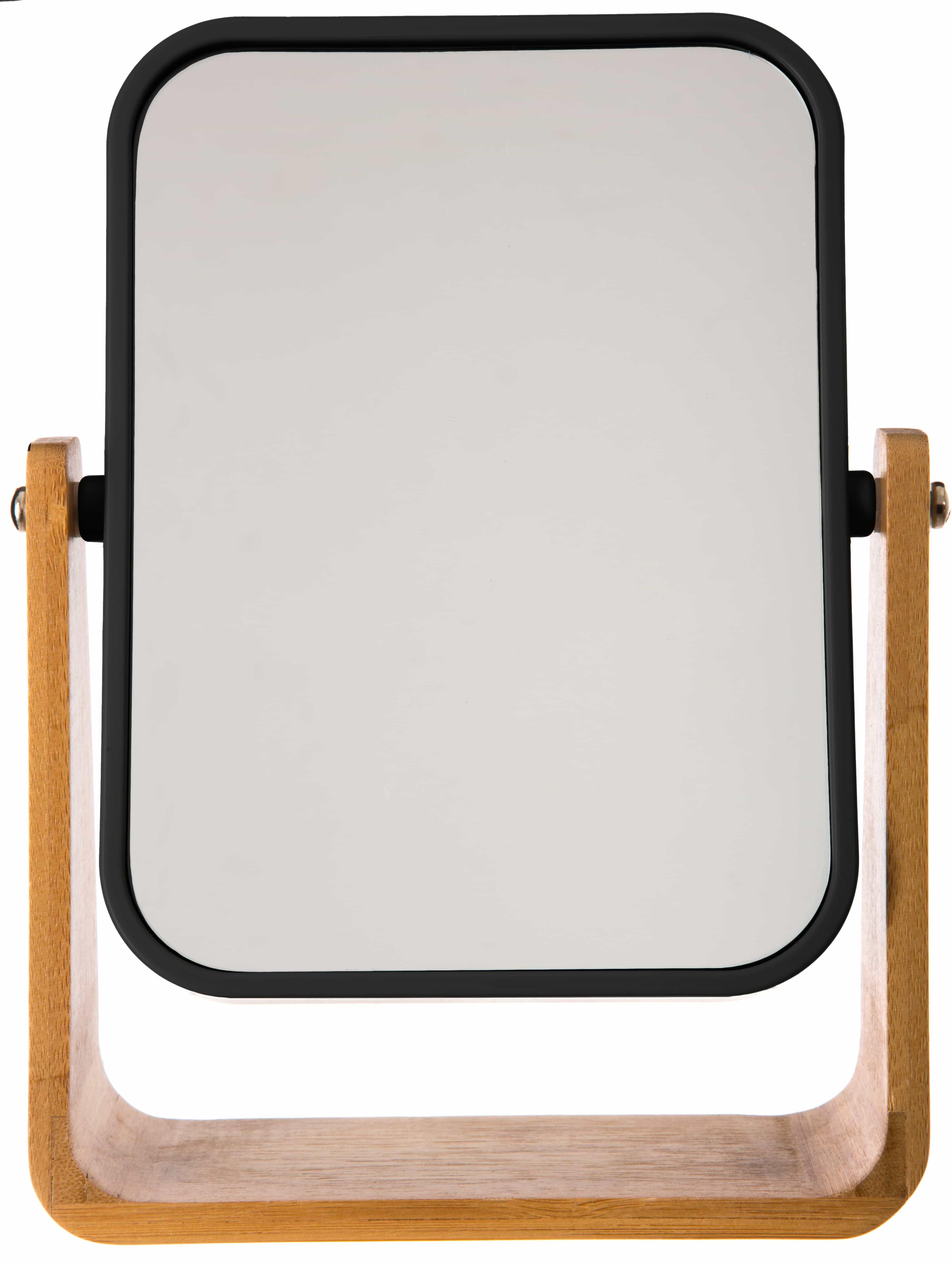 4goodz make-up spiegeltje bamboe 16x22x6 cm Vergroot 3x - Zwart/bruin