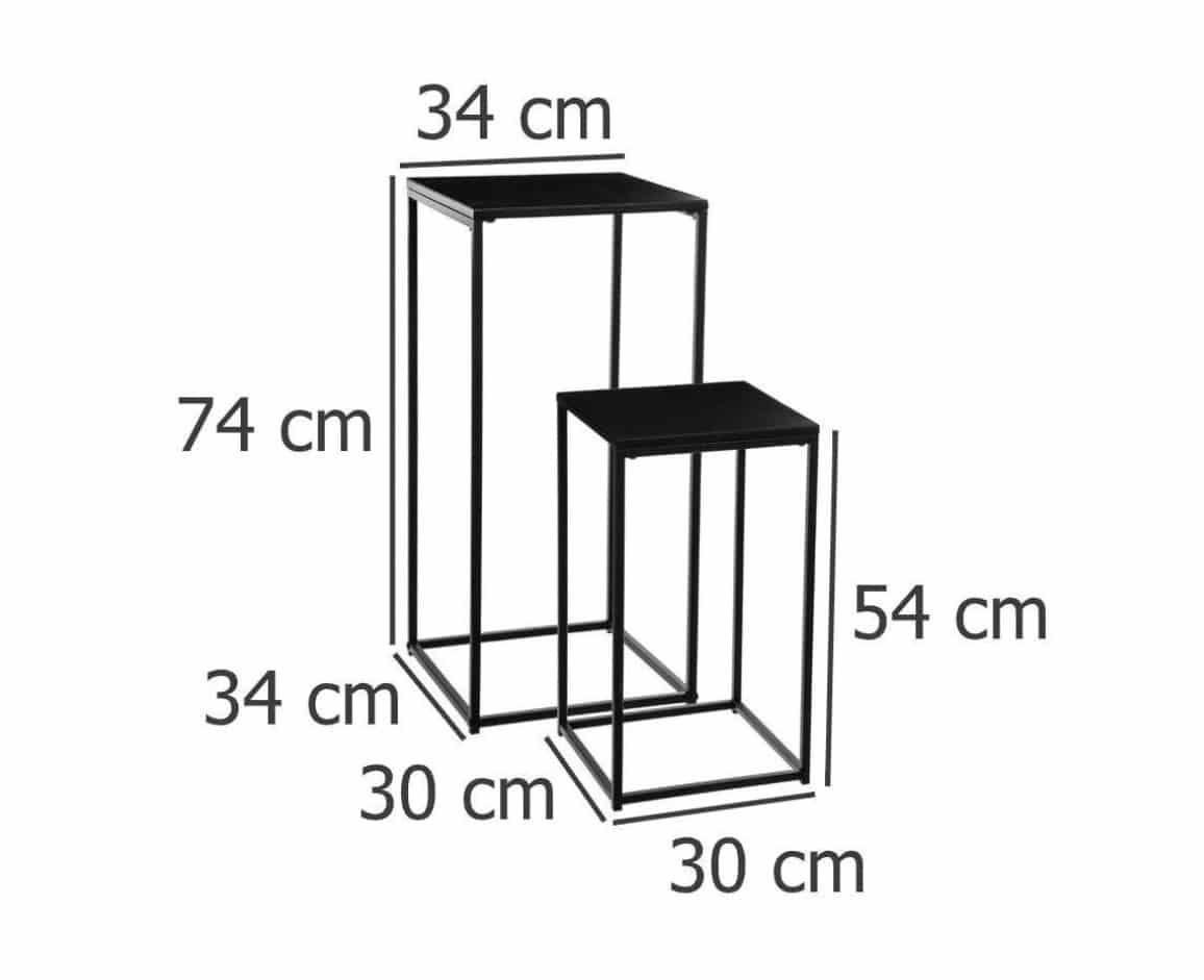 4goodz set van 2 Industriële Bijzettafels 30x30x54,5cm/34x34x74 cm - Zwart