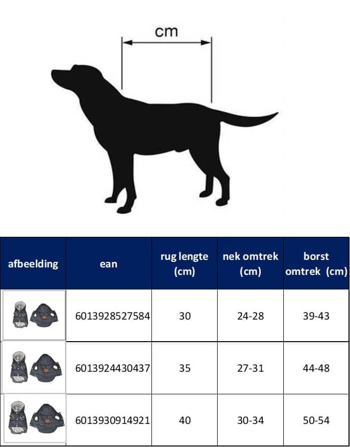 4Goodz winterjas bodywarmer voor honden met hoodie - 30 cm - Blauw