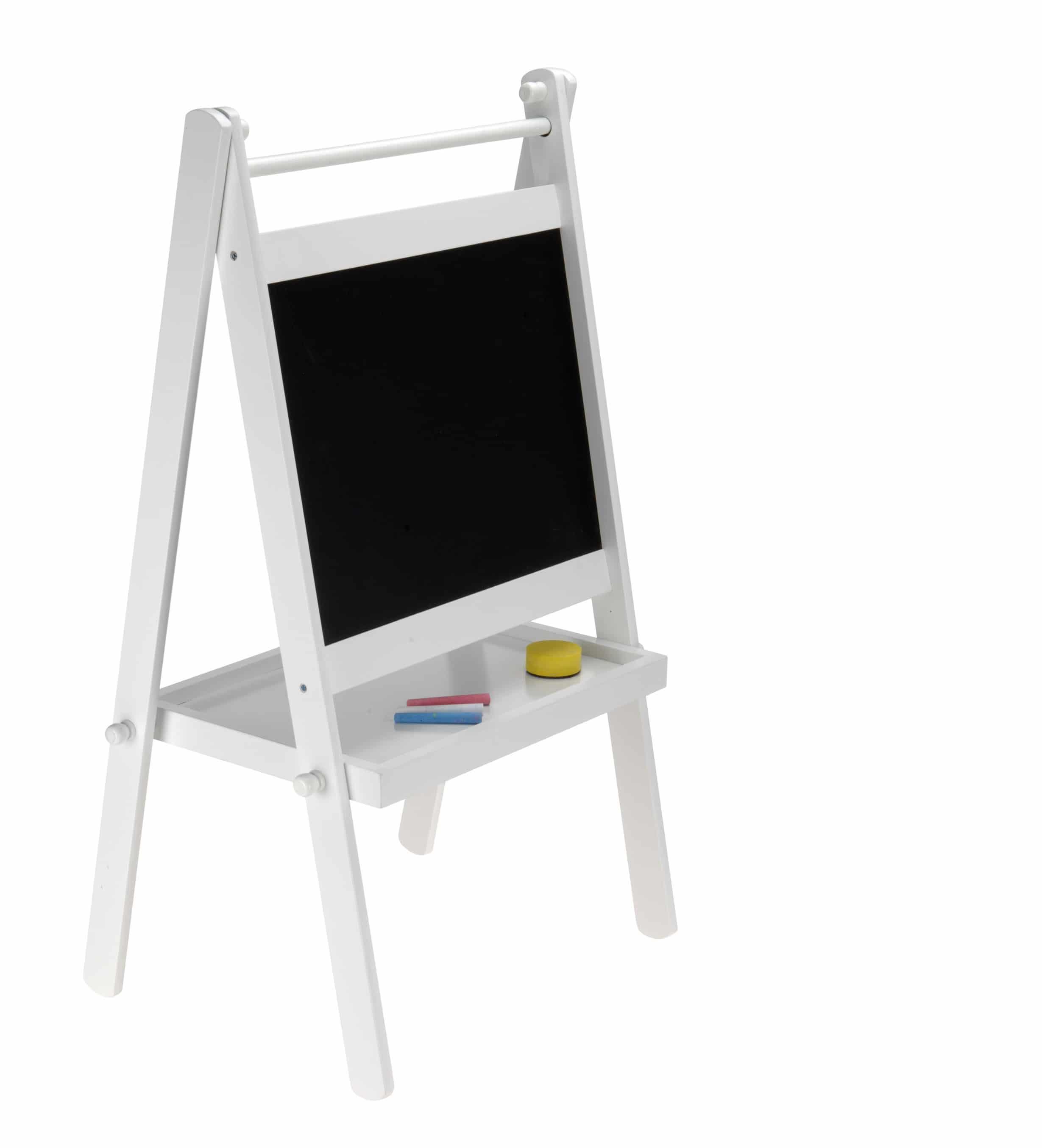 4goodz Wit schoolbord krijtbord inclusief toebehoren - 35x35x78,5 cm