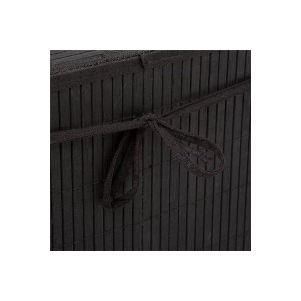 4Goodz Zwarte bamboe Wasmand met deksel en handvaten - 60 liter