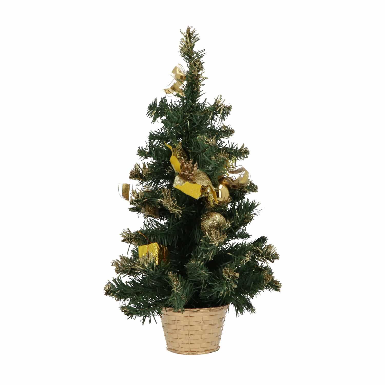 Mini Kerstboom met decoratie en kerstballen 50 cm hoog - Goud