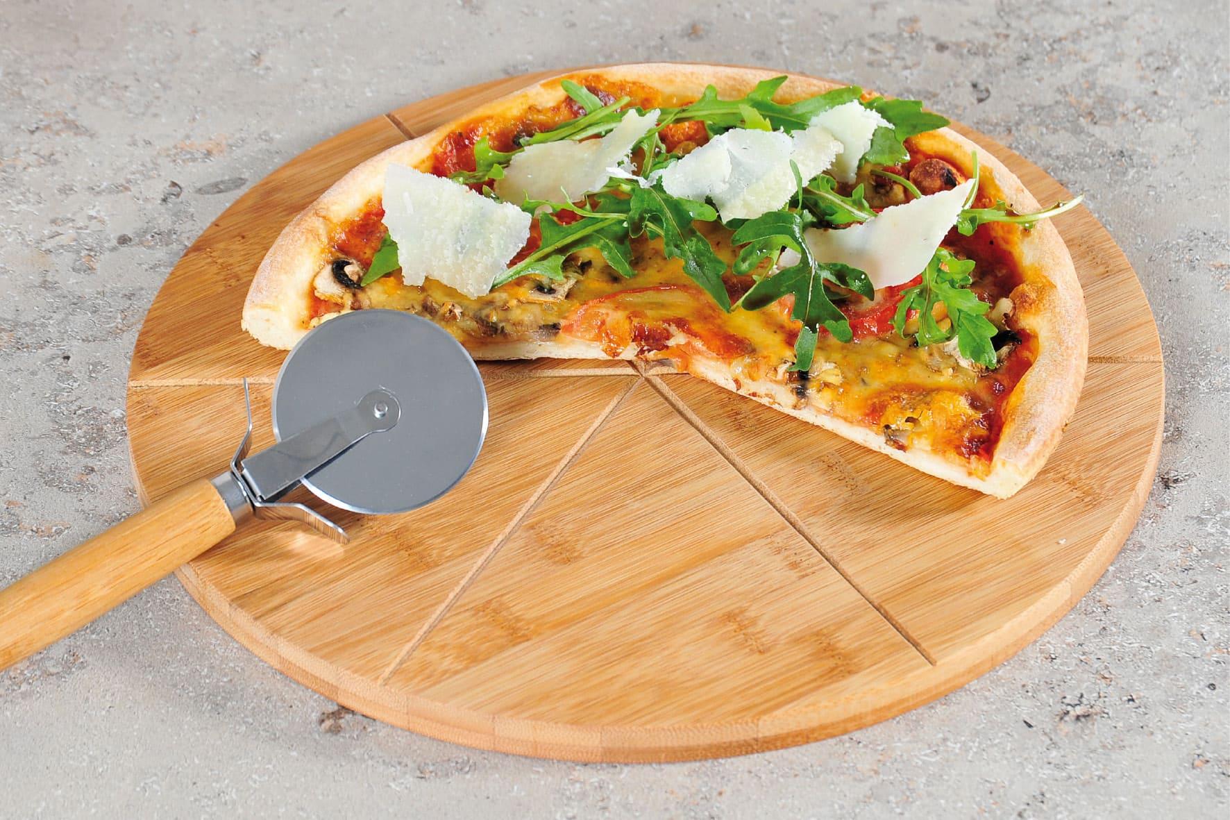 4Goodz Pizza snijplank met pizza snijder - 32x1,5cm