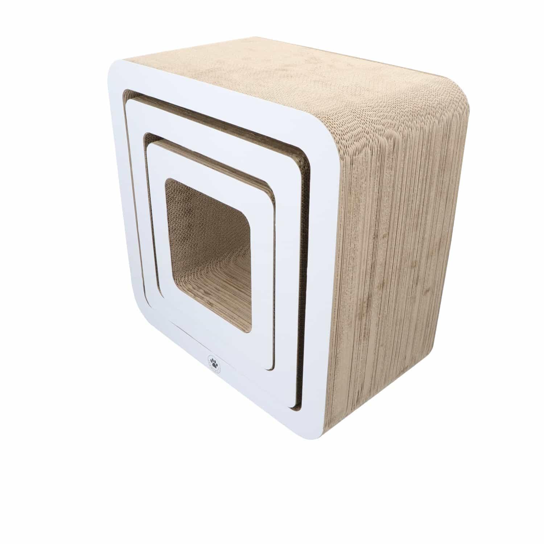 4animalz® Cube White - kartonnen krabpaal katten - 45x24x45cm - Wit