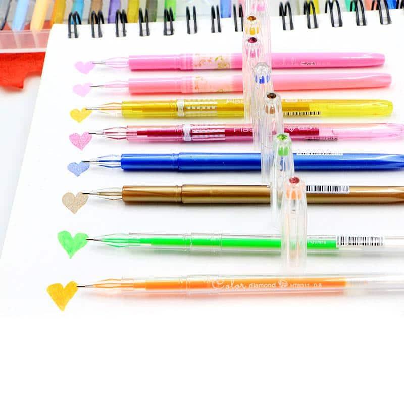 4artz® set van 48 gelpennen - metallic, fluoriscerend, diverse kleuren