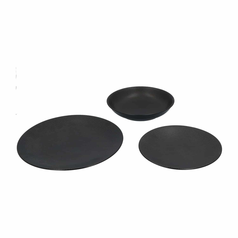 4goodz Porseleinen Diner Borden Caviar 6 stuks servies 27,5 cm - Zwart