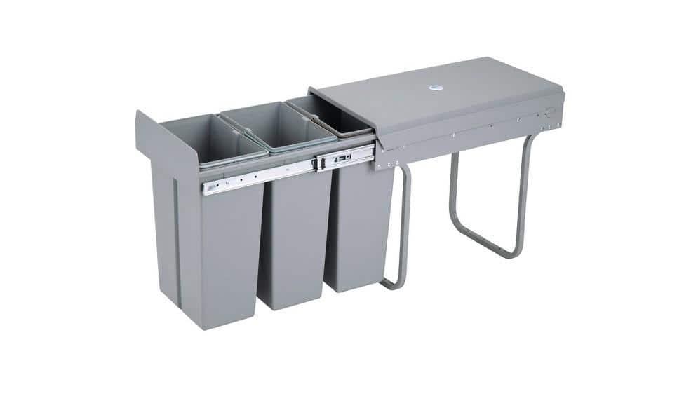 4cookz® inbouw afvalscheidingsprullenbak 3-vaks 30cm – 3x 10 ltr - Grijs